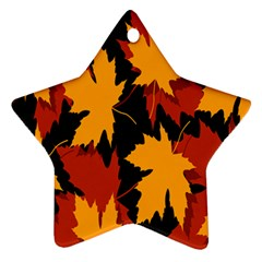 Dried Leaves Yellow Orange Piss Star Ornament (two Sides) by Alisyart