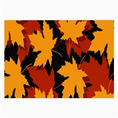 Dried Leaves Yellow Orange Piss Large Glasses Cloth (2 Side) by Alisyart
