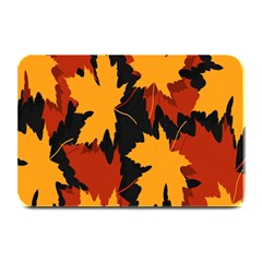 Dried Leaves Yellow Orange Piss Plate Mats by Alisyart