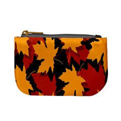 Dried Leaves Yellow Orange Piss Mini Coin Purses by Alisyart