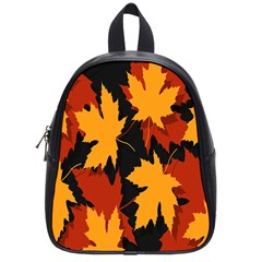 Dried Leaves Yellow Orange Piss School Bags (small)