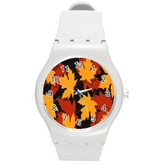 Dried Leaves Yellow Orange Piss Round Plastic Sport Watch (m) by Alisyart