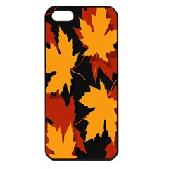 Dried Leaves Yellow Orange Piss Apple Iphone 5 Seamless Case (black) by Alisyart