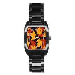 Dried Leaves Yellow Orange Piss Stainless Steel Barrel Watch by Alisyart