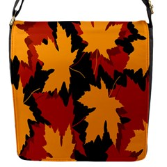 Dried Leaves Yellow Orange Piss Flap Messenger Bag (s) by Alisyart