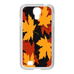 Dried Leaves Yellow Orange Piss Samsung Galaxy S4 I9500/ I9505 Case (white) by Alisyart