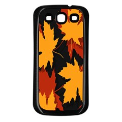 Dried Leaves Yellow Orange Piss Samsung Galaxy S3 Back Case (black) by Alisyart