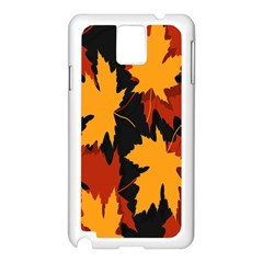 Dried Leaves Yellow Orange Piss Samsung Galaxy Note 3 N9005 Case (white) by Alisyart