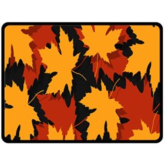 Dried Leaves Yellow Orange Piss Double Sided Fleece Blanket (large)  by Alisyart