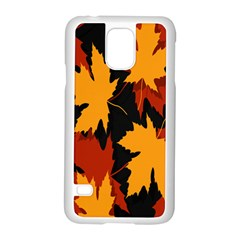 Dried Leaves Yellow Orange Piss Samsung Galaxy S5 Case (white) by Alisyart