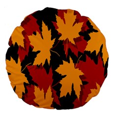 Dried Leaves Yellow Orange Piss Large 18  Premium Flano Round Cushions by Alisyart