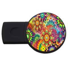 Colorful Abstract Flower Floral Sunflower Rose Star Rainbow Usb Flash Drive Round (2 Gb)