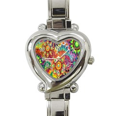 Colorful Abstract Flower Floral Sunflower Rose Star Rainbow Heart Italian Charm Watch by Alisyart