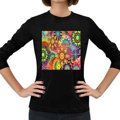 Colorful Abstract Flower Floral Sunflower Rose Star Rainbow Women s Long Sleeve Dark T Shirts