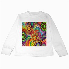 Colorful Abstract Flower Floral Sunflower Rose Star Rainbow Kids Long Sleeve T Shirts