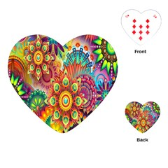 Colorful Abstract Flower Floral Sunflower Rose Star Rainbow Playing Cards (heart)