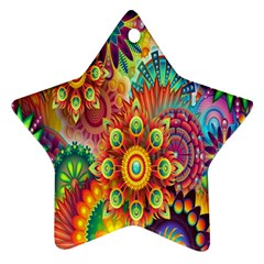 Colorful Abstract Flower Floral Sunflower Rose Star Rainbow Star Ornament (two Sides)