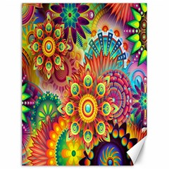 Colorful Abstract Flower Floral Sunflower Rose Star Rainbow Canvas 12  X 16   by Alisyart