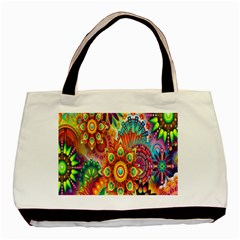 Colorful Abstract Flower Floral Sunflower Rose Star Rainbow Basic Tote Bag (two Sides) by Alisyart