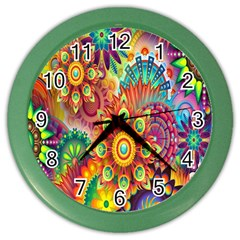 Colorful Abstract Flower Floral Sunflower Rose Star Rainbow Color Wall Clocks by Alisyart