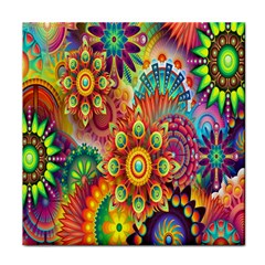Colorful Abstract Flower Floral Sunflower Rose Star Rainbow Face Towel
