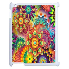 Colorful Abstract Flower Floral Sunflower Rose Star Rainbow Apple Ipad 2 Case (white)