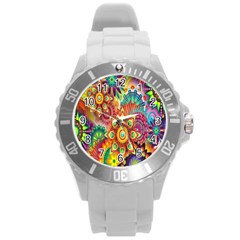 Colorful Abstract Flower Floral Sunflower Rose Star Rainbow Round Plastic Sport Watch (l) by Alisyart
