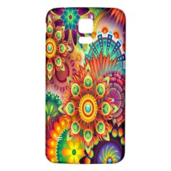 Colorful Abstract Flower Floral Sunflower Rose Star Rainbow Samsung Galaxy S5 Back Case (white) by Alisyart