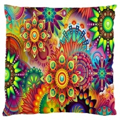 Colorful Abstract Flower Floral Sunflower Rose Star Rainbow Large Flano Cushion Case (two Sides) by Alisyart