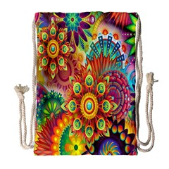 Colorful Abstract Flower Floral Sunflower Rose Star Rainbow Drawstring Bag (large) by Alisyart