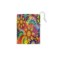 Colorful Abstract Flower Floral Sunflower Rose Star Rainbow Drawstring Pouches (xs)