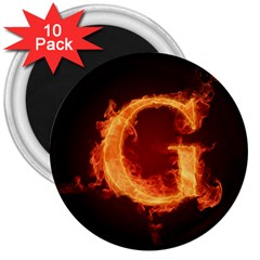 Fire Letterz G 3  Magnets (10 Pack)
