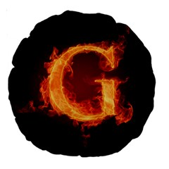 Fire Letterz G Large 18  Premium Round Cushions