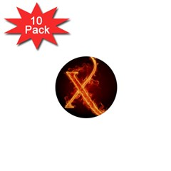 Fire Letterz X 1  Mini Magnet (10 Pack)