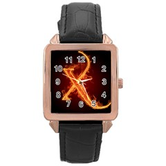 Fire Letterz X Rose Gold Leather Watch  by Alisyart