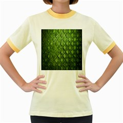 Circle Square Green Stone Women s Fitted Ringer T Shirts