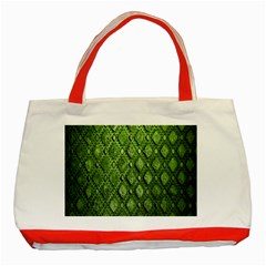 Circle Square Green Stone Classic Tote Bag (red)
