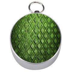 Circle Square Green Stone Silver Compasses