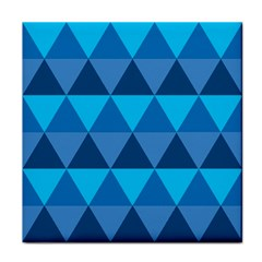 Geometric Chevron Blue Triangle Tile Coasters by Alisyart