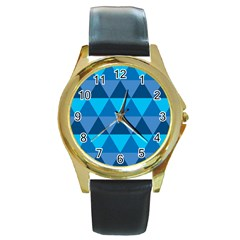 Geometric Chevron Blue Triangle Round Gold Metal Watch by Alisyart
