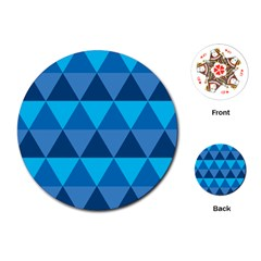 Geometric Chevron Blue Triangle Playing Cards (round)