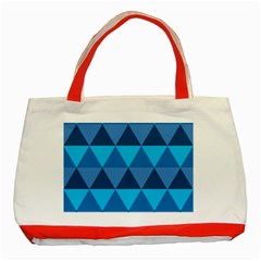 Geometric Chevron Blue Triangle Classic Tote Bag (red)