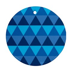 Geometric Chevron Blue Triangle Round Ornament (two Sides) by Alisyart