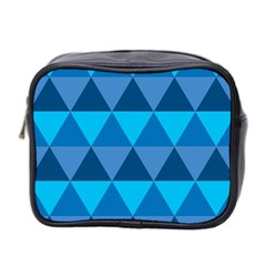 Geometric Chevron Blue Triangle Mini Toiletries Bag 2 Side
