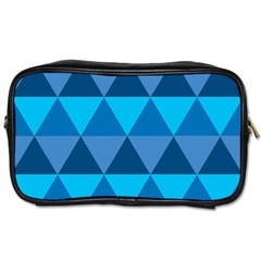 Geometric Chevron Blue Triangle Toiletries Bags