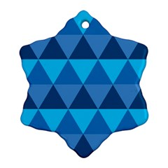 Geometric Chevron Blue Triangle Ornament (snowflake)
