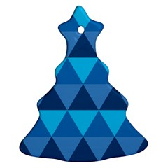 Geometric Chevron Blue Triangle Christmas Tree Ornament (two Sides)