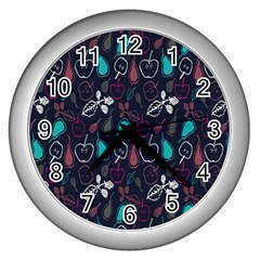 Fruit Pear Apple Purple Pink Blue Wall Clocks (silver)