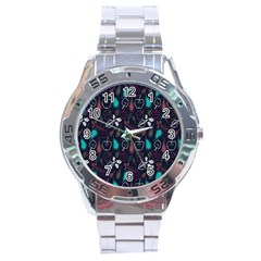 Fruit Pear Apple Purple Pink Blue Stainless Steel Analogue Watch