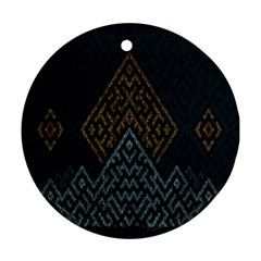 Geometric Triangle Grey Gold Ornament (round)
